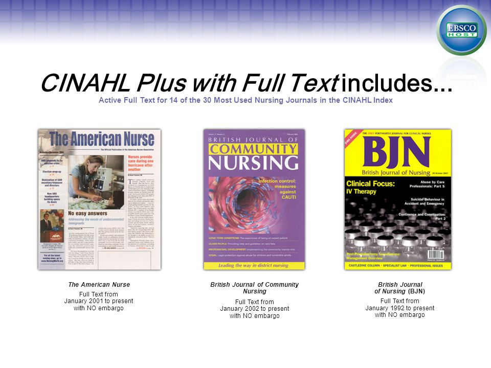 CINAHL Plus with Full Text includes...