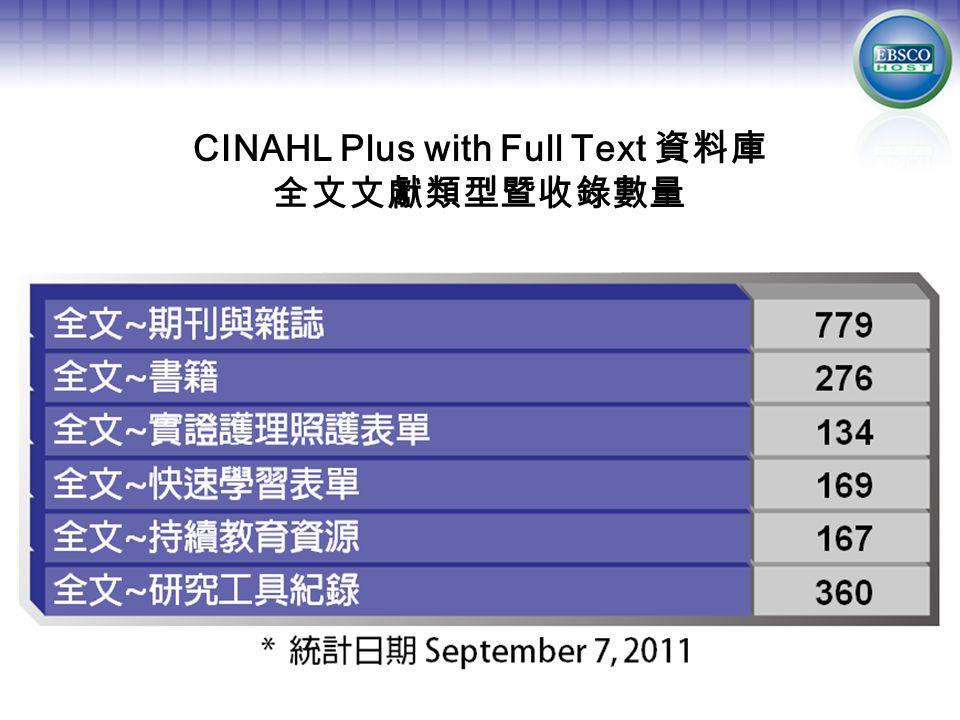CINAHL Plus with Full Text 資料庫 全文文獻類型暨收錄數量