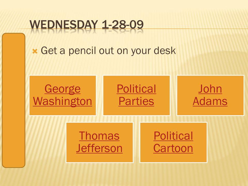 Get a pencil out on your desk George Washington Political Parties John Adams Thomas Jefferson Political Cartoon