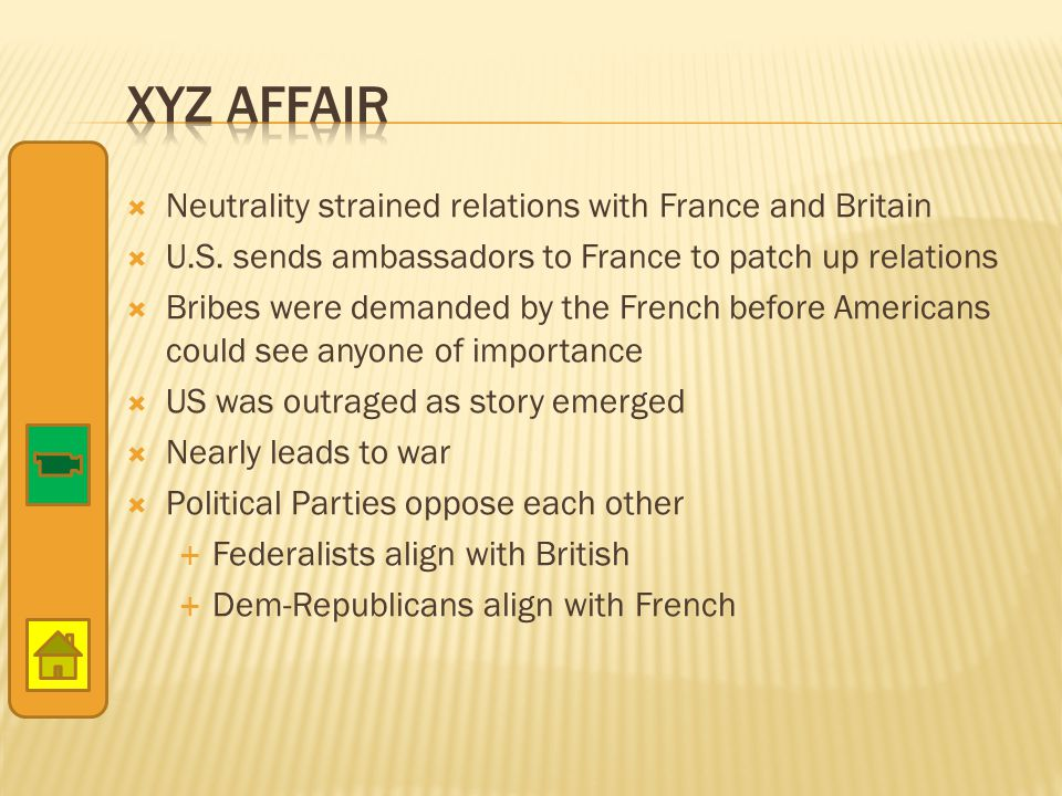  Neutrality strained relations with France and Britain  U.S. sends ambassadors to France to patch up relations  Bribes were demanded by the French