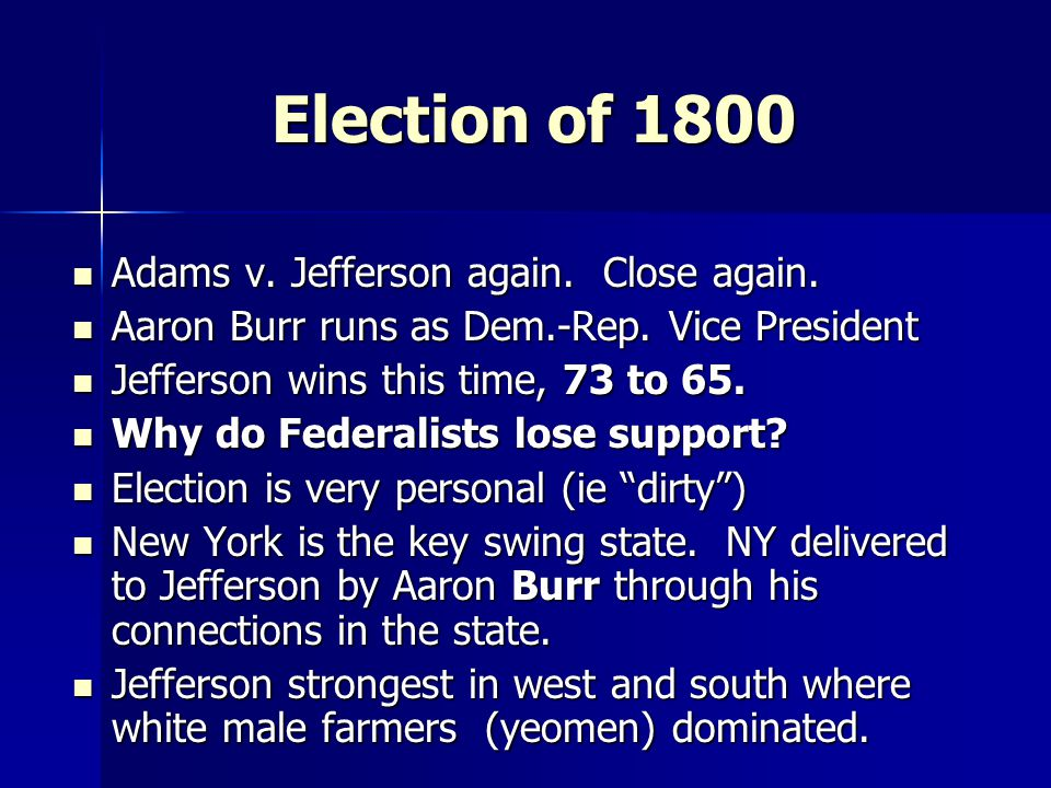 Jeffersonian Restraint  Jefferson's first priority was to undue abuses by the Federalists.