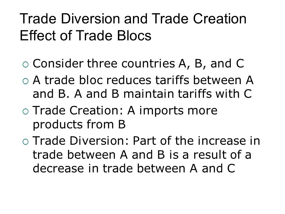 Trade Diversion and Trade Creation Effect of Trade Blocs  Consider three countries A, B, and C  A trade bloc reduces tariffs between A and B. A and