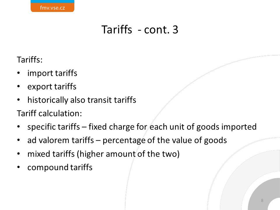Tariffs - cont.