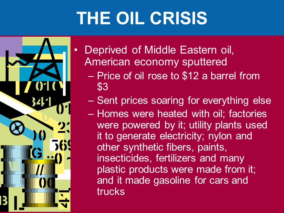 THE OIL CRISIS Deprived of Middle Eastern oil, American economy sputtered –Price of oil rose to $12 a barrel from $3 –Sent prices soaring for everything else –Homes were heated with oil; factories were powered by it; utility plants used it to generate electricity; nylon and other synthetic fibers, paints, insecticides, fertilizers and many plastic products were made from it; and it made gasoline for cars and trucks