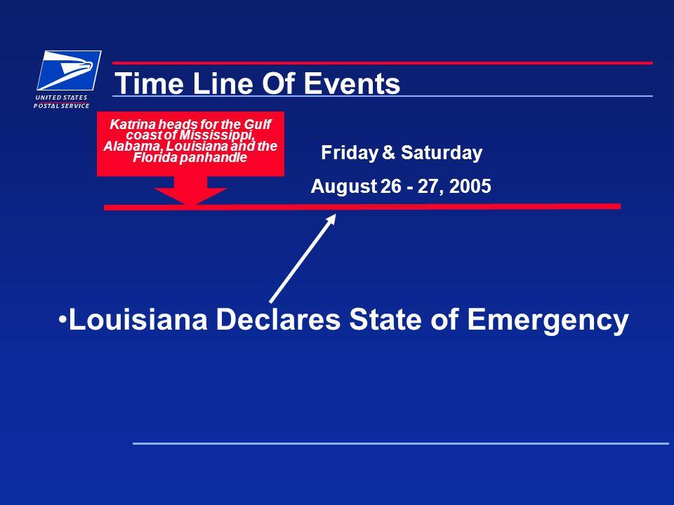 Katrina heads for the Gulf coast of Mississippi, Alabama, Louisiana and the Florida panhandle Louisiana Declares State of Emergency Friday & Saturday