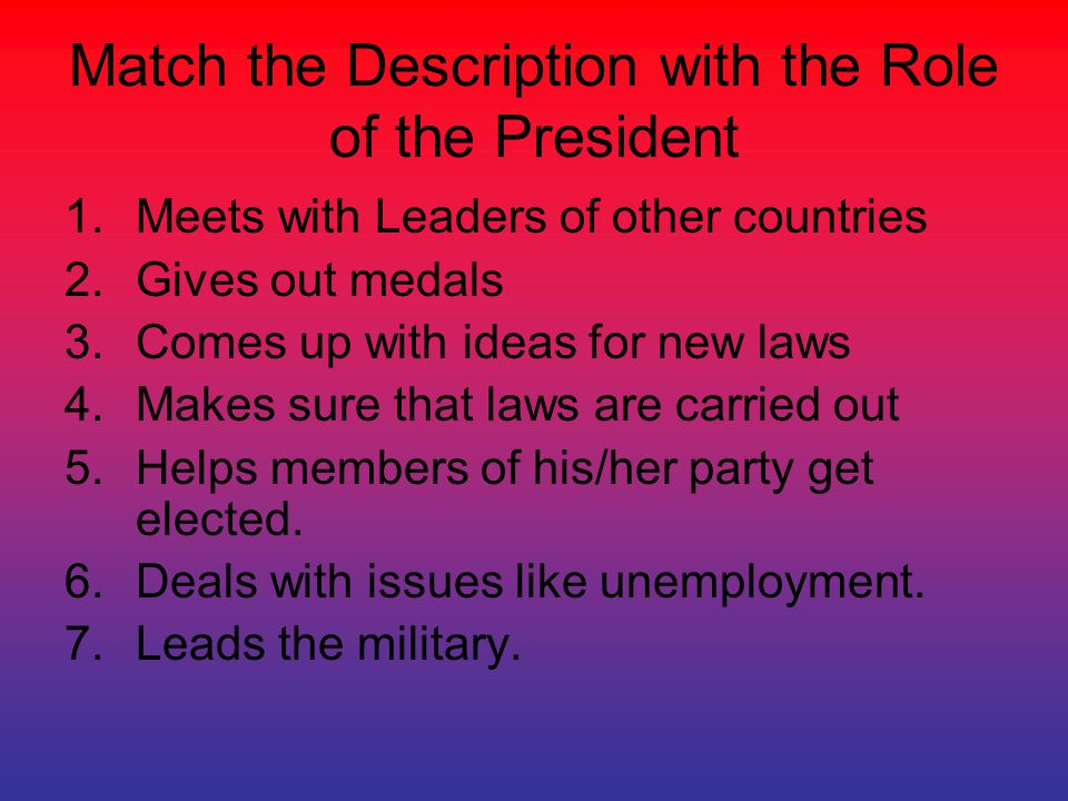Match the Description with the Role of the President 1.Meets with Leaders of other countries 2.Gives out medals 3.Comes up with ideas for new laws 4.M