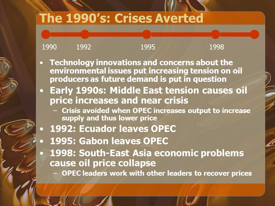 The 1980's: Price Fluctuations 1980-5: High oil prices prevail 1986: Oil pricing crisis due to decline and eventual collapse of previously high prices