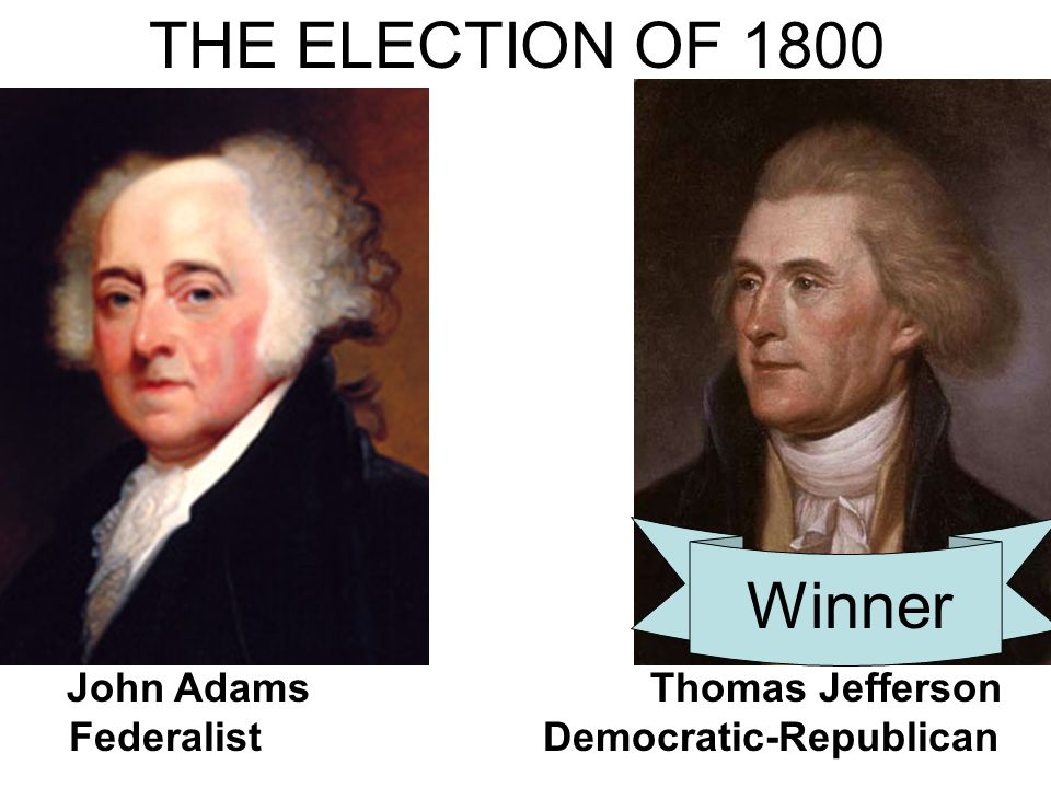 THE ELECTION OF 1800 Winner John Adams Thomas Jefferson Federalist Democratic-Republican