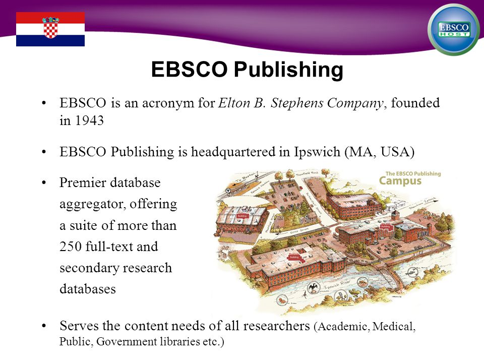 EBSCO Publishing EBSCO is an acronym for Elton B.