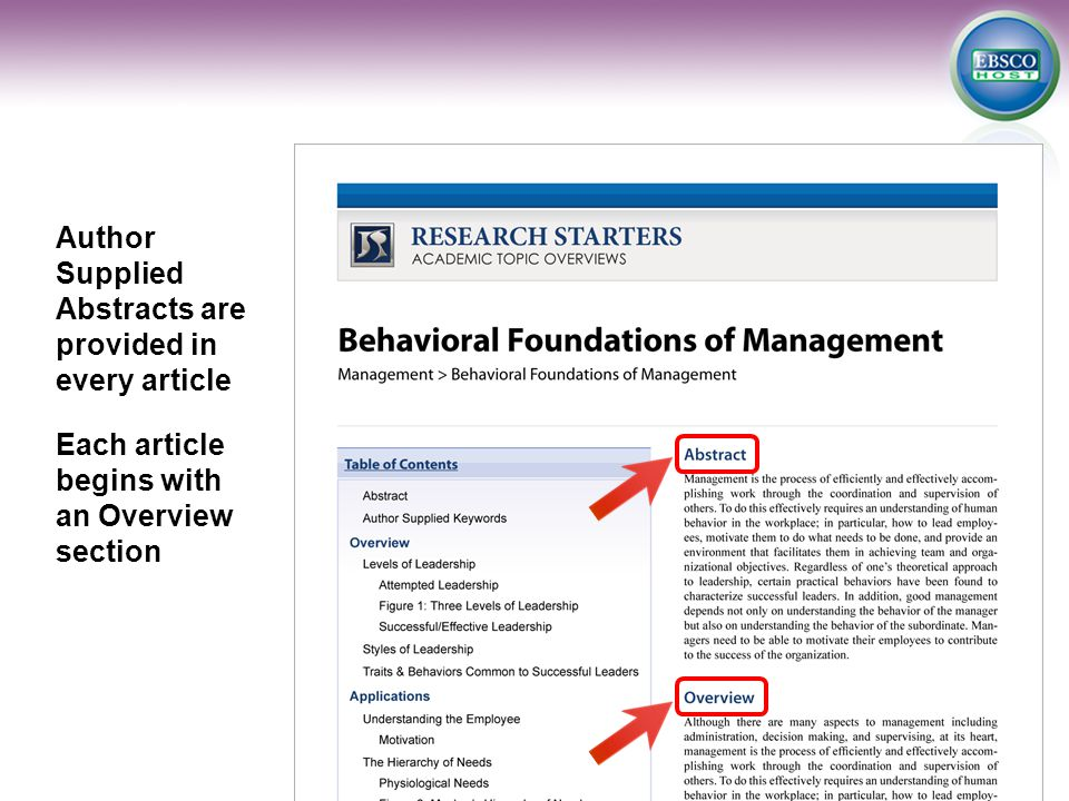 Author Supplied Abstracts are provided in every article Each article begins with an Overview section