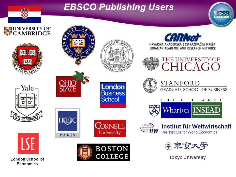 Tokyo University London School of Economics EBSCO Publishing Users