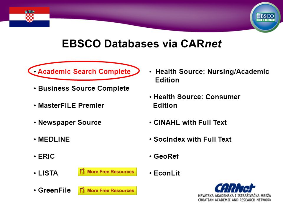 Academic Search Complete Business Source Complete MasterFILE Premier Newspaper Source MEDLINE ERIC LISTA GreenFile Health Source: Nursing/Academic Edition Health Source: Consumer Edition CINAHL with Full Text SocIndex with Full Text GeoRef EconLit EBSCO Databases via CARnet