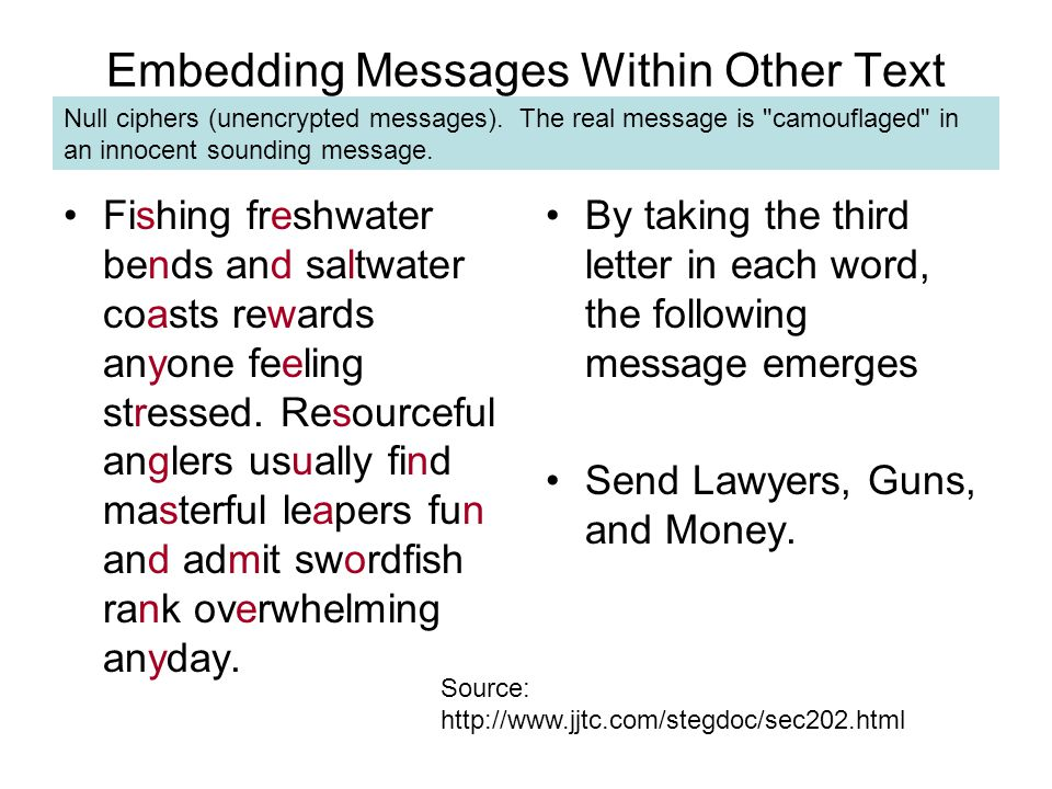 Embedding Messages Within Other Text Fishing freshwater bends and saltwater coasts rewards anyone feeling stressed.