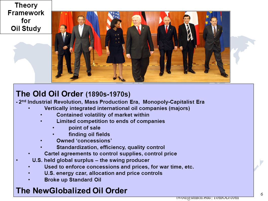 twod@umich.edu | TomOD.com 7 The NewGlobalized Oil Order (1980s …) Security IEA SPRs Global-north oil Supply cushion Volatility Price bands Saudi swing state Futures market Role of states U.S.