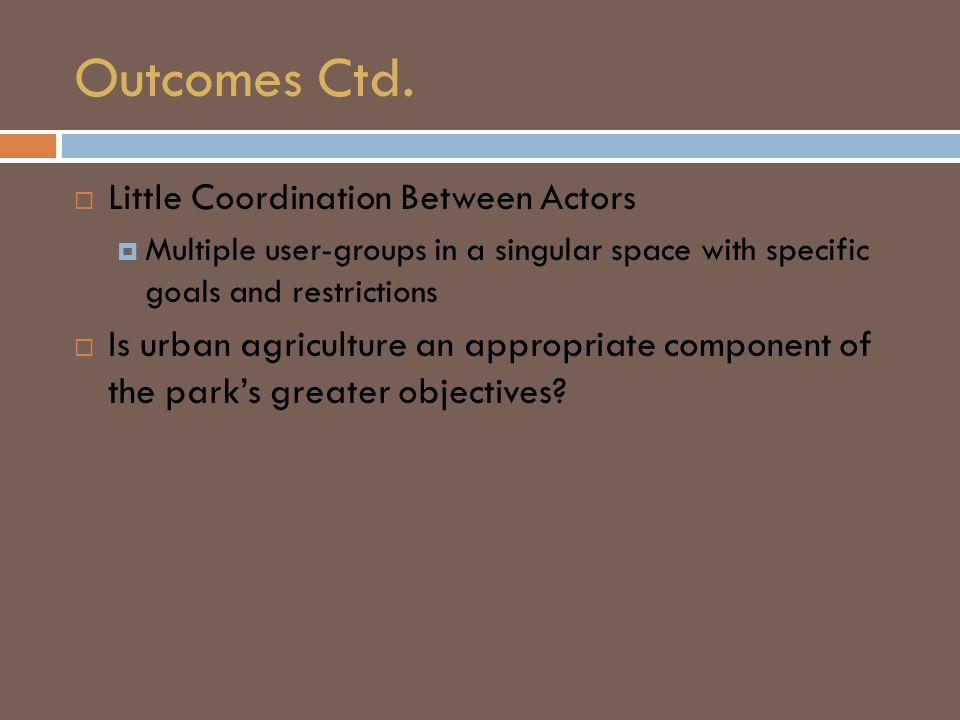 Outcomes Ctd.