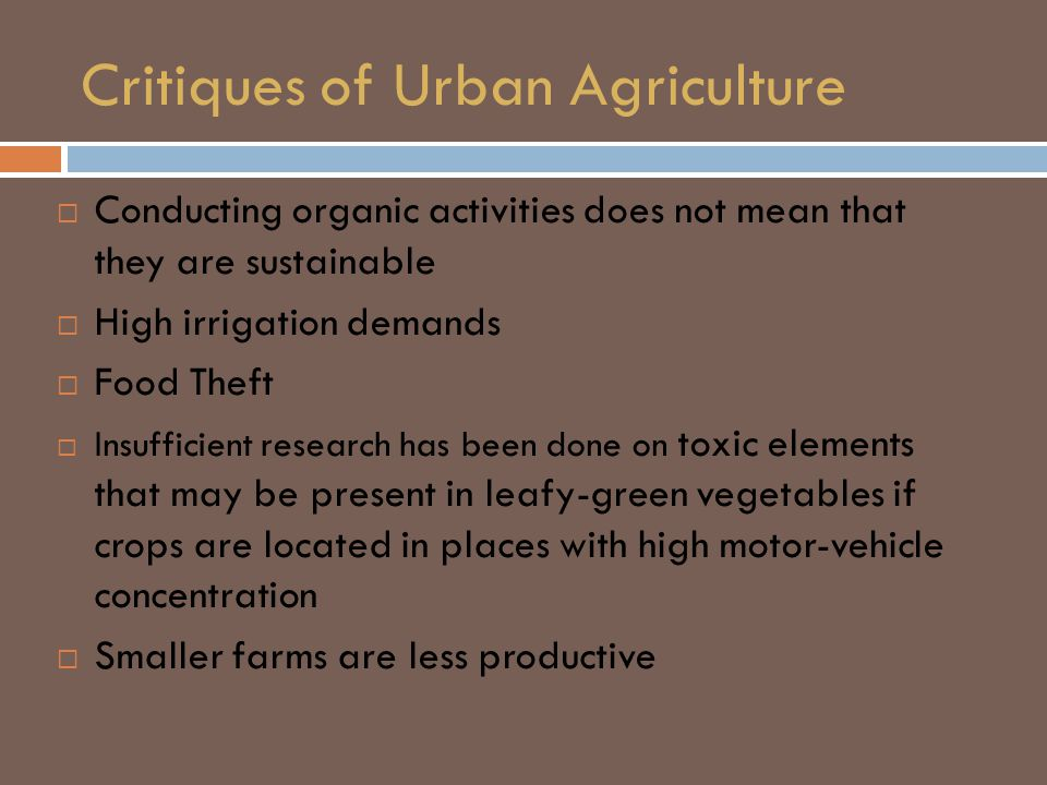 Critiques of Urban Agriculture  Conducting organic activities does not mean that they are sustainable  High irrigation demands  Food Theft  Insufficient research has been done on toxic elements that may be present in leafy-green vegetables if crops are located in places with high motor-vehicle concentration  Smaller farms are less productive