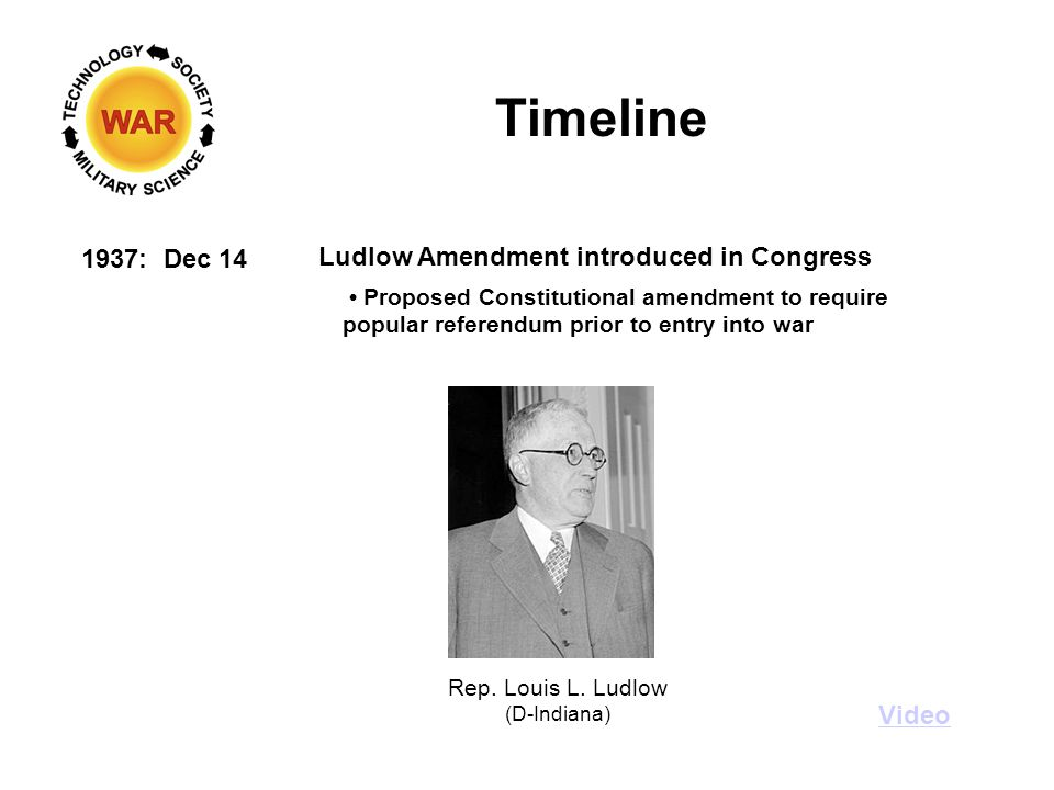 Timeline 1937: Dec 14 Ludlow Amendment introduced in Congress Video Proposed Constitutional amendment to require popular referendum prior to entry into war Rep.