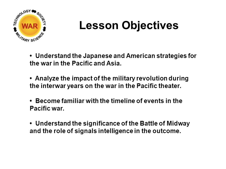 Lesson Objectives Understand the Japanese and American strategies for the war in the Pacific and Asia.