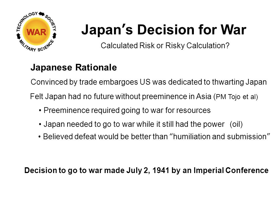 Japan's Decision for War Japanese Rationale Calculated Risk or Risky Calculation.