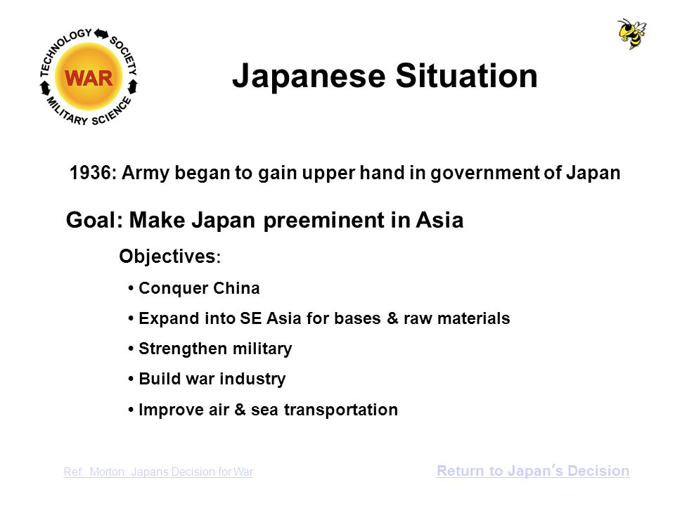 Japanese Situation 1936: Army began to gain upper hand in government of Japan Ref: Morton: Japans Decision for War Return to Japan's Decision Goal: Make Japan preeminent in Asia Objectives : Conquer China Expand into SE Asia for bases & raw materials Strengthen military Build war industry Improve air & sea transportation