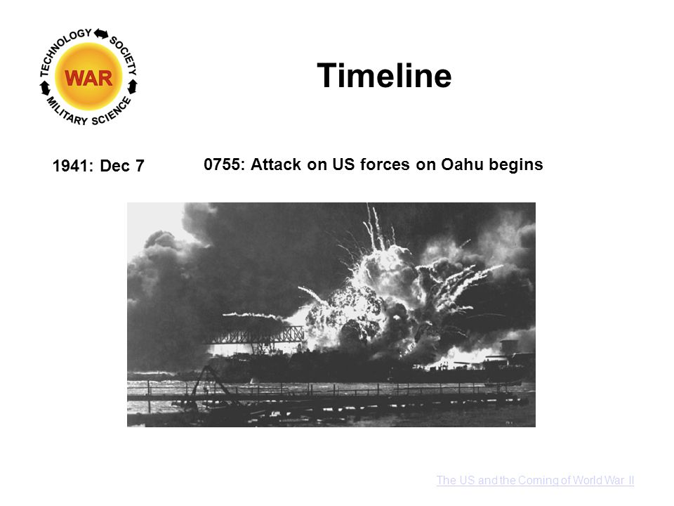 Timeline 1941: Dec 7 0755: Attack on US forces on Oahu begins The US and the Coming of World War II