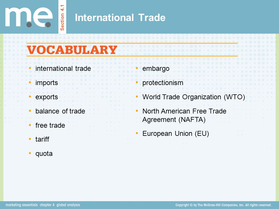 International Trade Key Concepts Related to International Trade Section 4.2