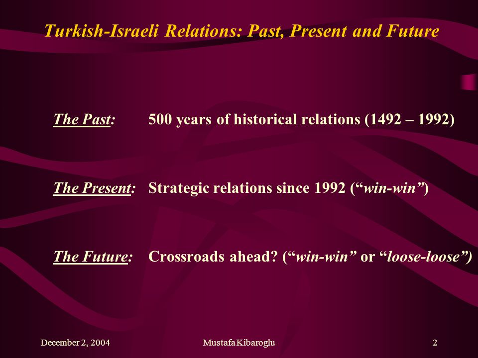 December 2, 2004Mustafa Kibaroglu3 Turkish-Israeli Relations: Past, Present and Future...Ottomans embraced the persecuted Jews of Spain in 1492...Jews have been loyal to the Ottoman Sultan...Jews occupied high ranks in the Ottoman administration...Jews supported Turkey's War of Liberation in 1919-1922...200 000 Jews had minority status in Turkey after Lausanne...Most Jews gone to Israel but some 25 000 remain in Turkey