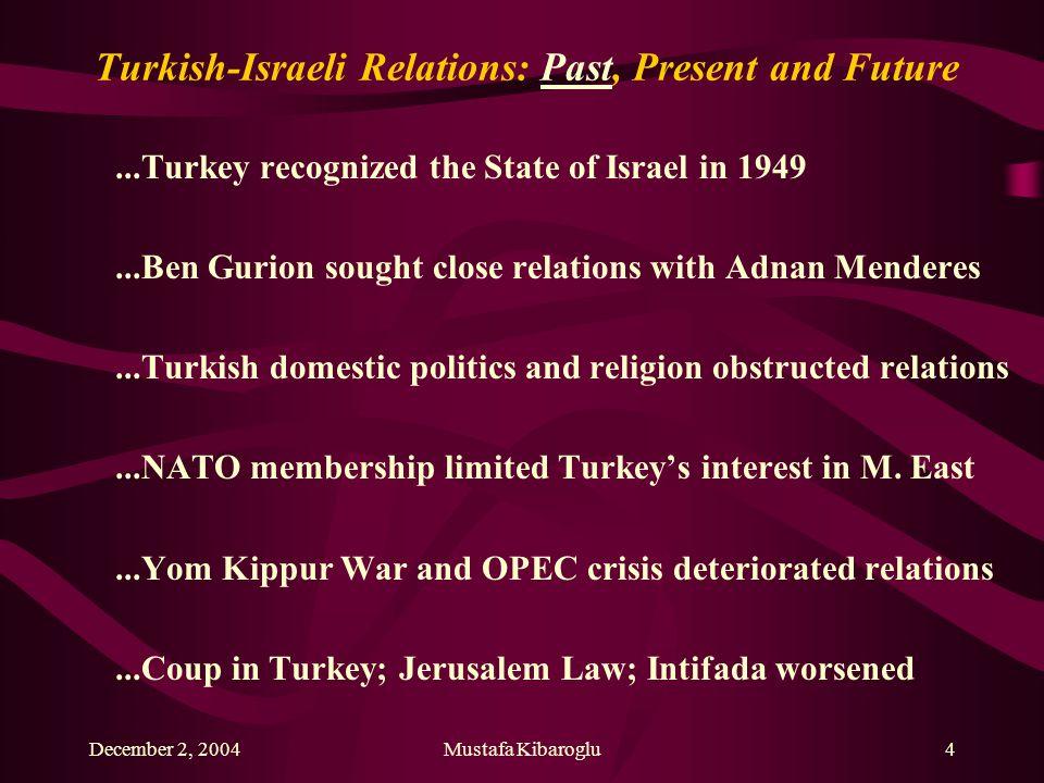 December 2, 2004Mustafa Kibaroglu4 Turkish-Israeli Relations: Past, Present and Future...Turkey recognized the State of Israel in 1949...Ben Gurion so