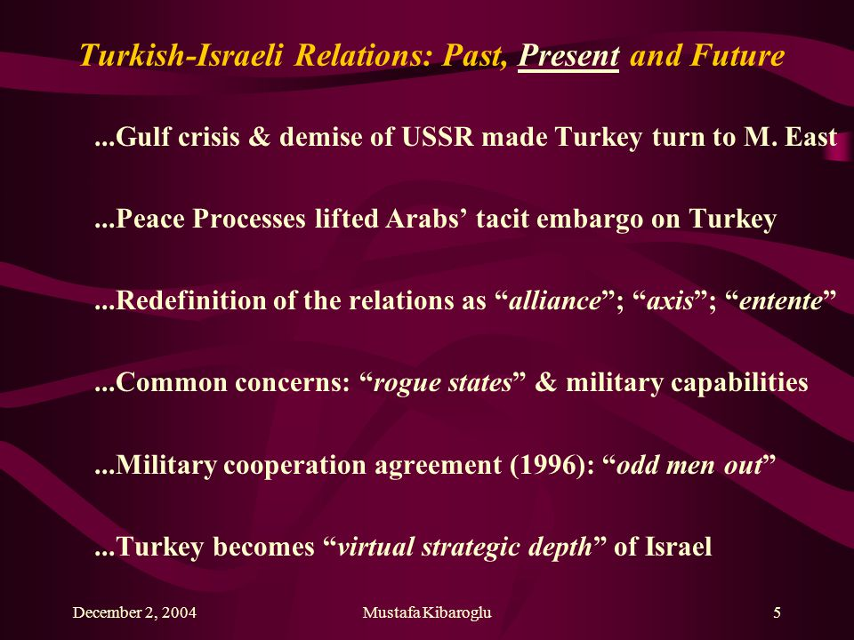 December 2, 2004Mustafa Kibaroglu5 Turkish-Israeli Relations: Past, Present and Future...Gulf crisis & demise of USSR made Turkey turn to M.