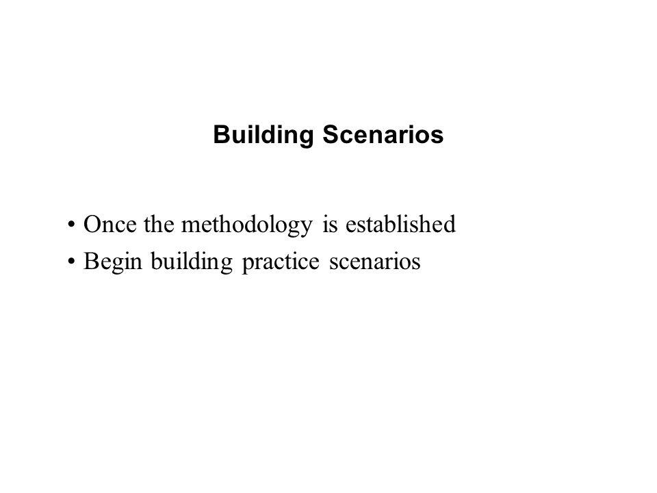 Building Scenarios Once the methodology is established Begin building practice scenarios
