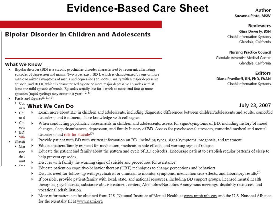Evidence-Based Care Sheet