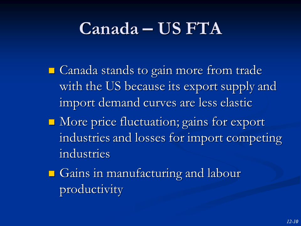 12-10 Canada – US FTA Canada stands to gain more from trade with the US because its export supply and import demand curves are less elastic Canada stands to gain more from trade with the US because its export supply and import demand curves are less elastic More price fluctuation; gains for export industries and losses for import competing industries More price fluctuation; gains for export industries and losses for import competing industries Gains in manufacturing and labour productivity Gains in manufacturing and labour productivity