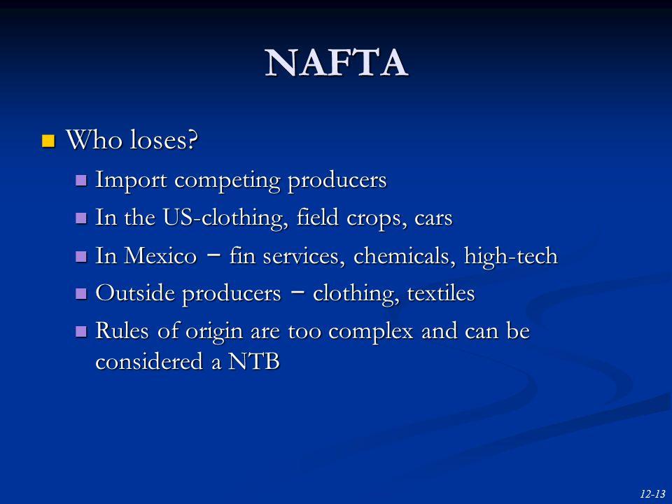 12-13 NAFTA Who loses. Who loses.