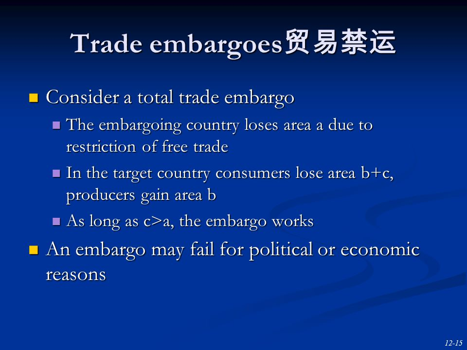 12-15 Trade embargoes 贸易禁运 Consider a total trade embargo Consider a total trade embargo The embargoing country loses area a due to restriction of free trade The embargoing country loses area a due to restriction of free trade In the target country consumers lose area b+c, producers gain area b In the target country consumers lose area b+c, producers gain area b As long as c>a, the embargo works As long as c>a, the embargo works An embargo may fail for political or economic reasons An embargo may fail for political or economic reasons