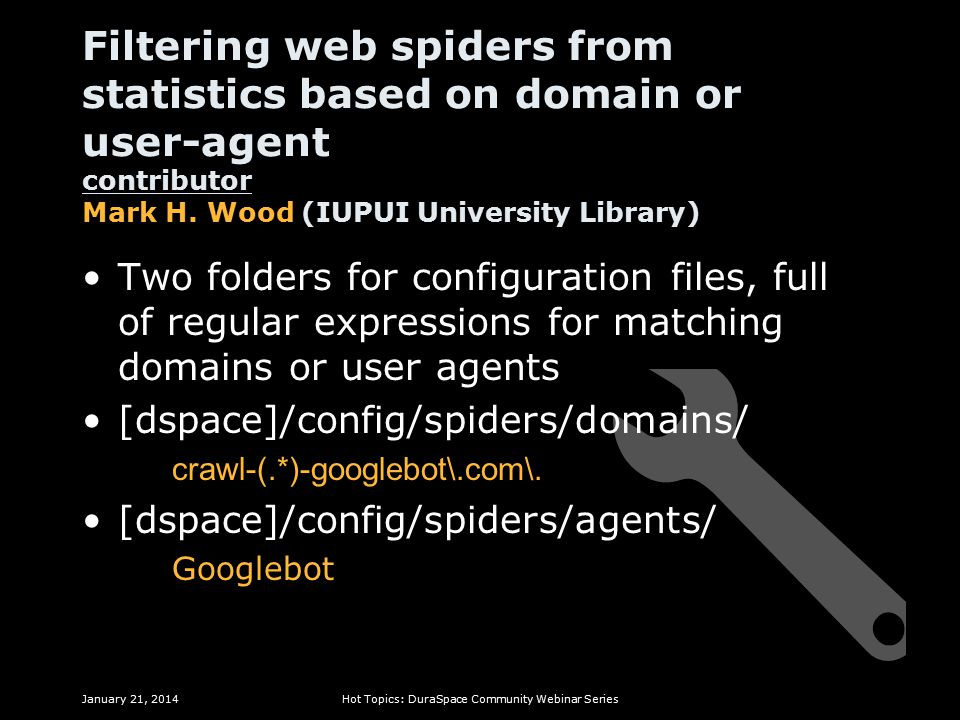 Filtering web spiders from statistics based on domain or user-agent contributor Mark H.