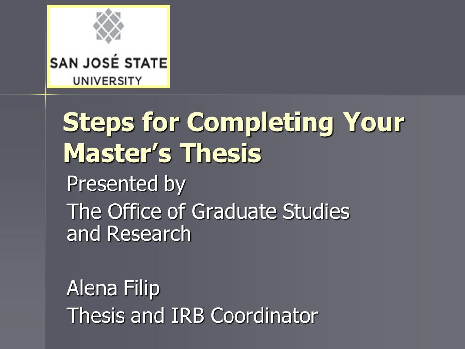 Where to Get Help Graduate Admissions and Program Evaluations University level program requirements University level program requirements Steps for completing your master's degree Steps for completing your master's degree Candidacy and graduation applications Candidacy and graduation applicationsWeb http://www.sjsu.edu/gape/index.htm Contact Find email address for evaluator assigned to your department online Location Student Services Center (SSC)