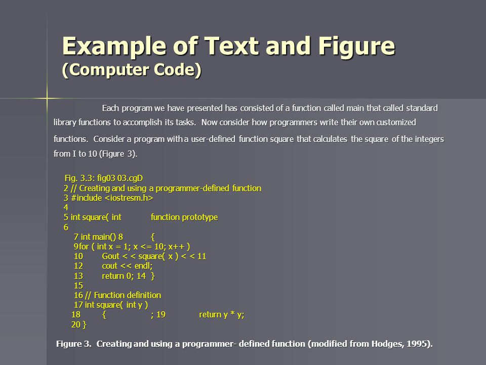 Example of Text and Figure (Computer Code) Each program we have presented has consisted of a function called main that called standard library functions to accomplish its tasks.