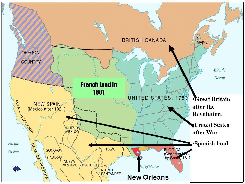 Great Britain after the Revolution. United States after War Spanish land French Land in 1801 New Orleans