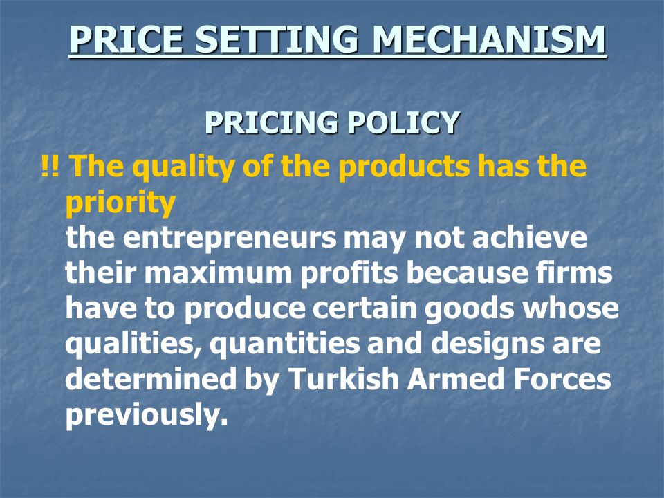 PRICE SETTING MECHANISM PRICING POLICY PRICE SETTING MECHANISM PRICING POLICY !.