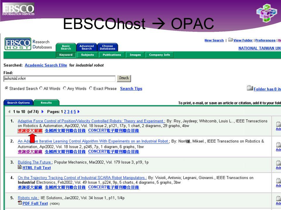 EBSCOhost  OPAC