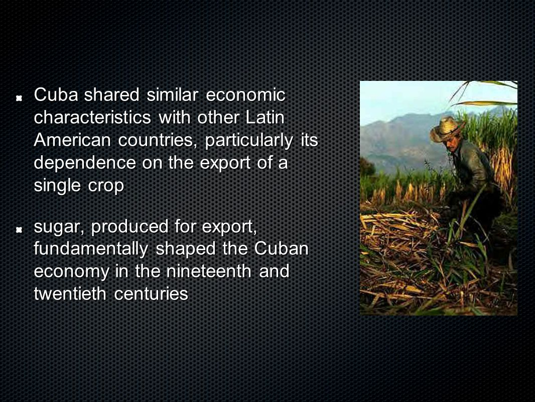 Cuba has a history of involvement with independence movements in developing countries - Algeria, Zaire,Ethiopia and Angola Cuban soldiers played a crucial role in helping defeat South African-backed rebels in Angola Cuba provides international aid to poor countries through the service of doctors, engineers, teachers and other specialists