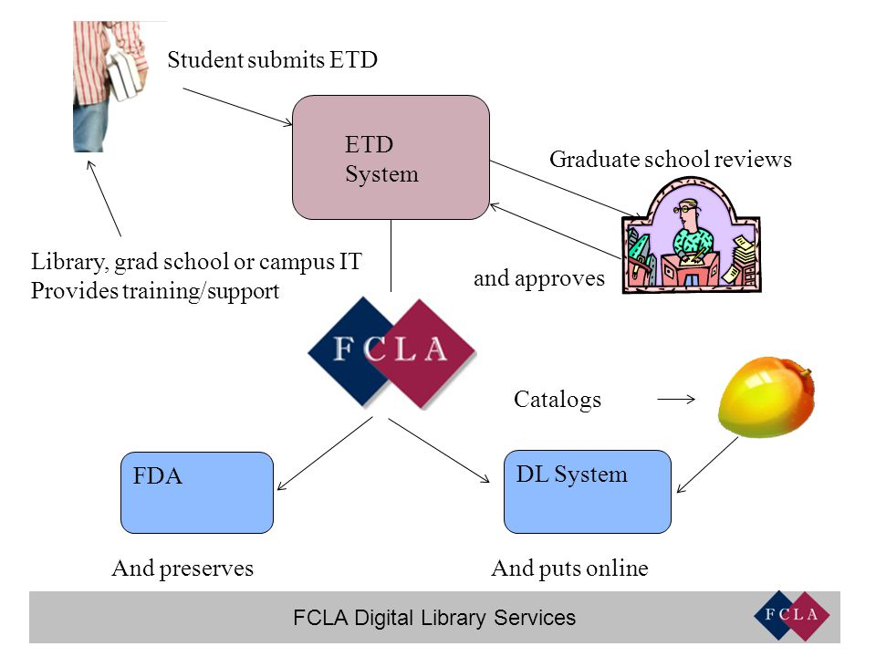 FCLA Digital Library Services ETD System Student submits ETD Graduate school reviews and approves Catalogs DL System And puts online FDA And preserves Library, grad school or campus IT Provides training/support
