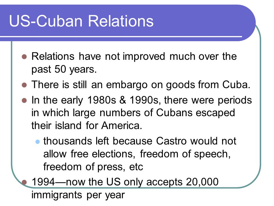 US-Cuban Relations Relations have not improved much over the past 50 years.