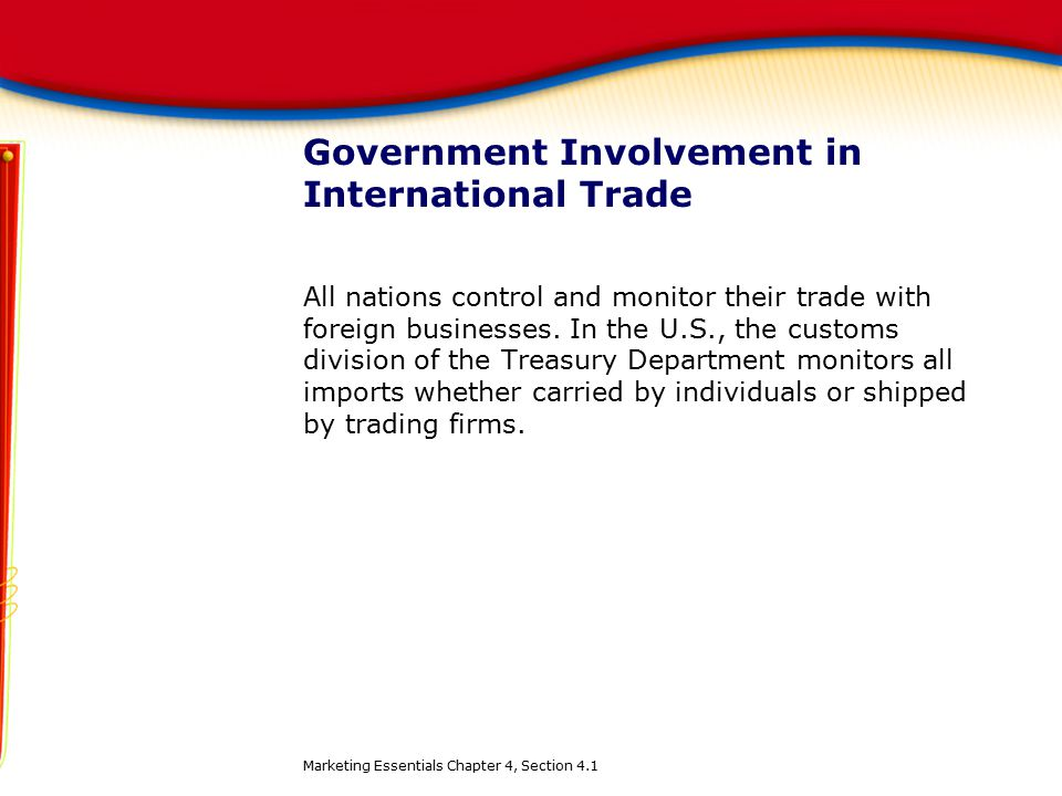 Government Involvement in International Trade All nations control and monitor their trade with foreign businesses. In the U.S., the customs division o