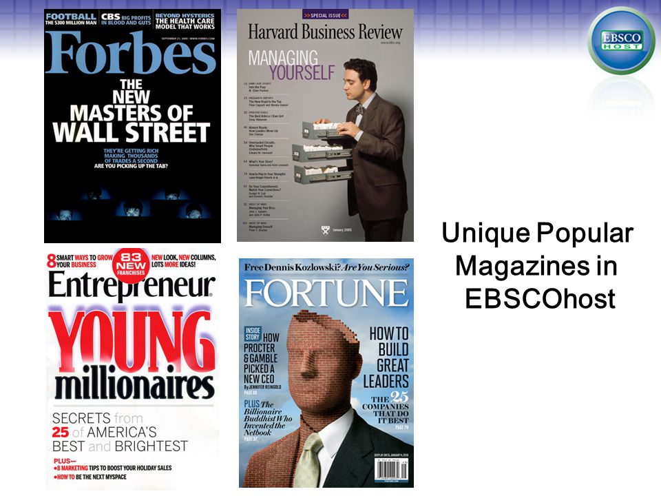 Unique Popular Magazines in EBSCOhost