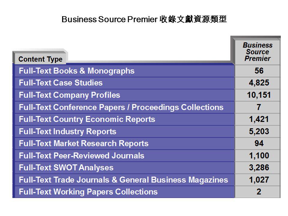 Business Source Premier 收錄文獻資源類型