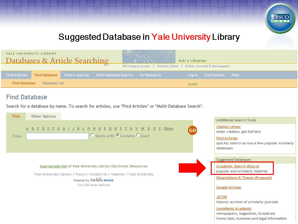 Suggested Database in Yale University Library