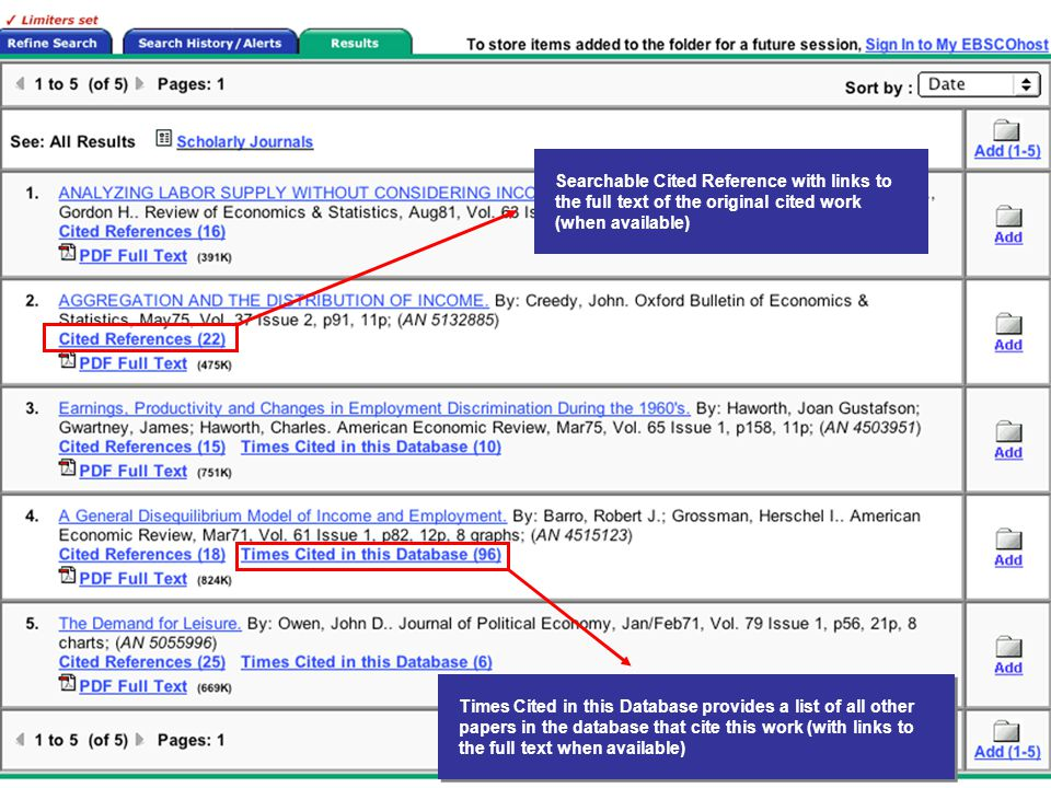 Searchable Cited Reference with links to the full text of the original cited work (when available) Times Cited in this Database provides a list of all other papers in the database that cite this work (with links to the full text when available)