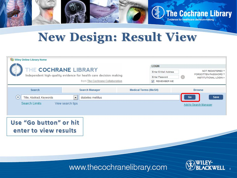 New Design: Result View Use Go button or hit enter to view results