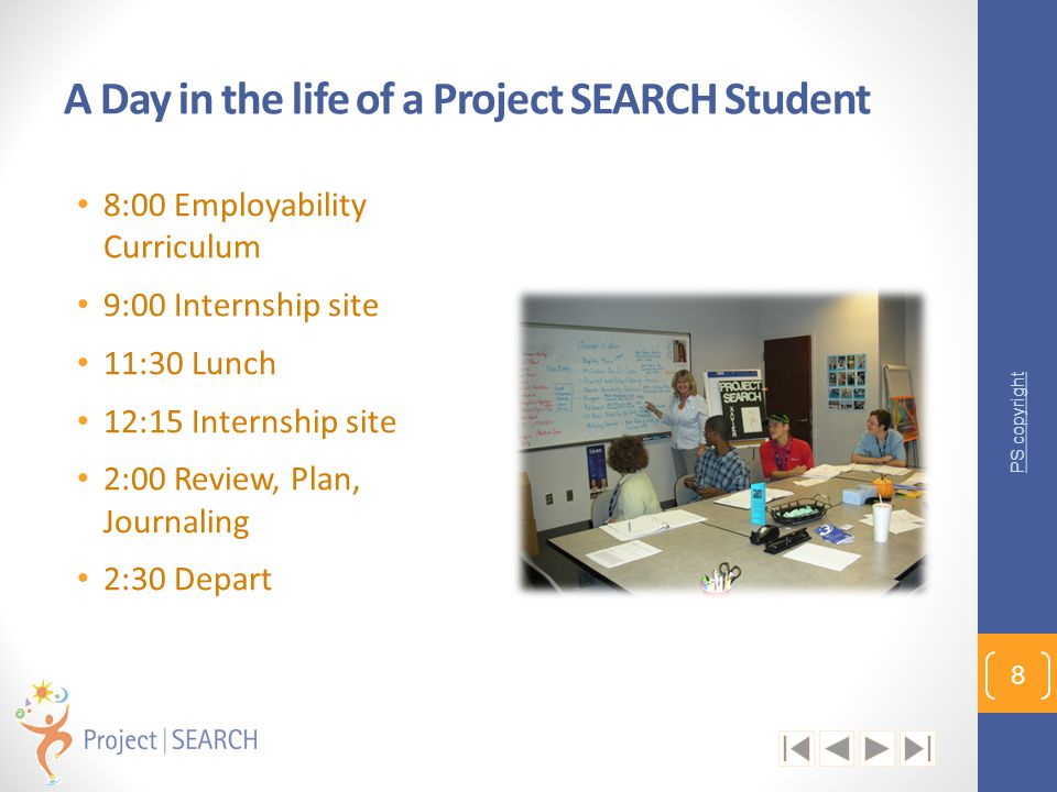 A Day in the life of a Project SEARCH Student 8:00 Employability Curriculum 9:00 Internship site 11:30 Lunch 12:15 Internship site 2:00 Review, Plan,